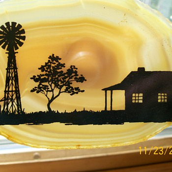 My Painted agate with a farm scene on it . Reminds me of our farm