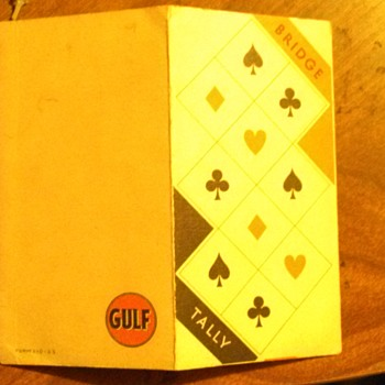 Vintage Gulf advertising Bridge Tally cards - Petroliana