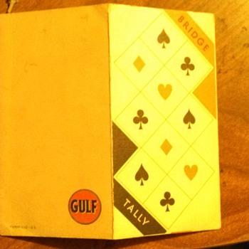 Vintage Gulf advertising Bridge Tally cards