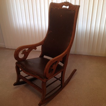 Antique rocker--wood, leather, tack-trimmed - Furniture
