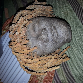 antique hand molded stone or pottery head ¿ - Art Pottery