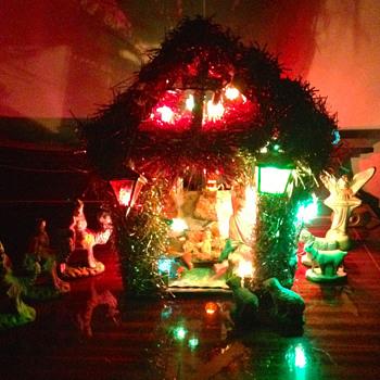 Portuguese Chalkware Nativity Scene