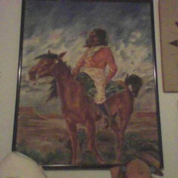 FOLK ART NATIVE AMERICAN OIL PAINTING