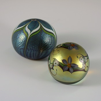 Orient & Flume Floral Swirl & Feathered Paperweights - Art Nouveau