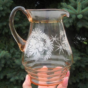 Pink blown pitcher leaf & floral design  - Glassware