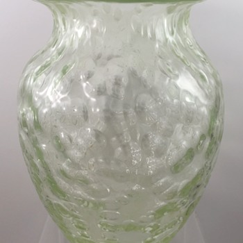 Unusual Loetz Diaspora vase, uranium glass ground, ca. 1902