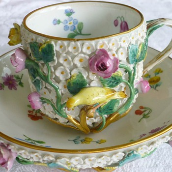 Elaborate Meissen Schneeball (Snowball) Cup and Saucer - China and Dinnerware