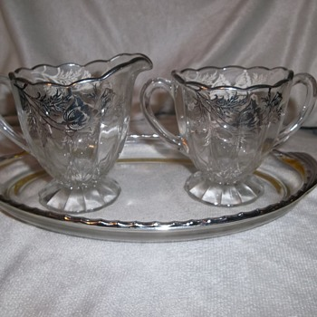1960's Silver City, Martinsville Glass silver overlay Flanders poppy pattern - Glassware