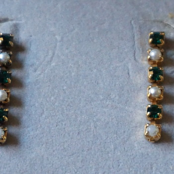 Vintage Pearl & Green Rhinestone Earrings