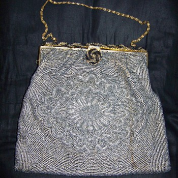 Hand Sewn French Beaded Purse/Gold Chain Handle