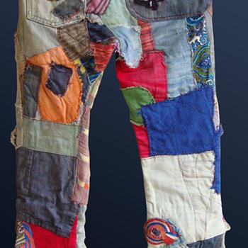 Fantastic Late 1960s-1970s Wrecked & Patched Hippie Jeans