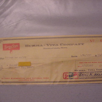 Burma Shave  Rental Check and Letter