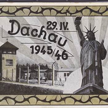 WWII Postcard with Dachau and Statue of Liberty 1945