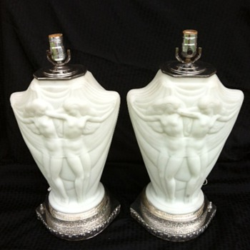 Art Deco Nude Girls Lamp Pair Silverplate Base - Art Deco