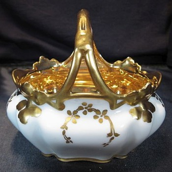R S Germany Basket With Beautiful Gold Interior - China and Dinnerware