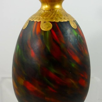 Mottled & Gilt French or Bohemian Cased Glass vase, ca. early 1900s