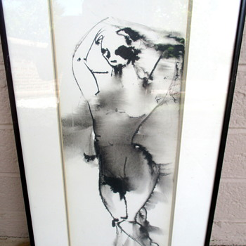 Ink on Paper Abstract Figures Paintings signed h. Scherer - Visual Art