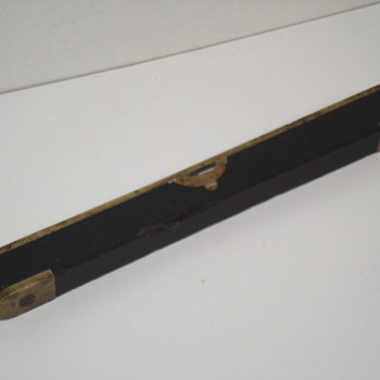 "Small Heavy Brass and Wood Level - 9"" Long"