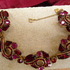 ruby red and pink prong set rhinestone bracelet unmarked can you id maker?