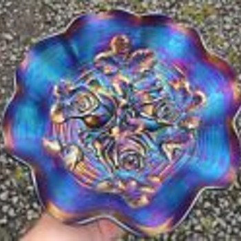Northwood Carnival Glass Bowl Iridescent Purple Grape and Cable Pattern