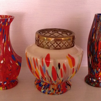 Three Czech Tango era spatter glass vases in various shapes
