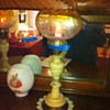 Antique Alabaster Table Lamp with Etched Glass Shade
