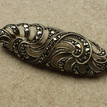 Silver and marcassite brooch