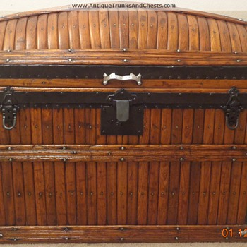 Restored Martin Maier Antique Dome Slat Trunk - Furniture