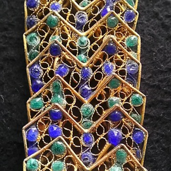 Italian Blue & Green Enamel Filigree Bracelet - Costume Jewelry
