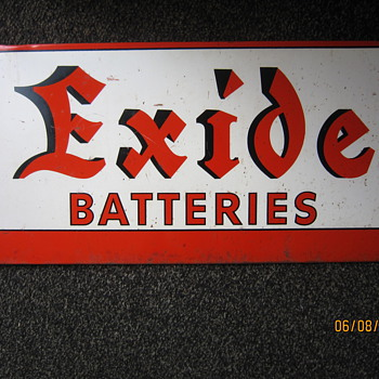 1930's - 1940's Exide Batteries Steel Display Rack Advertisement Sign - Signs