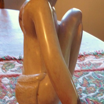 "Mystery Solved!! See below!!Well carved stone man from where?  Marble? I love this 9"" tall 7"" long, 4.2 lbs. - Folk Art"