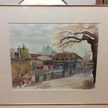 Water Colour Vauxhall Opel factory, given to managing director help signature - Visual Art