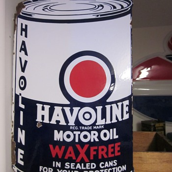 1935 Havoline Die Cut Double Sided Porcelain Flange Sign - Petroliana