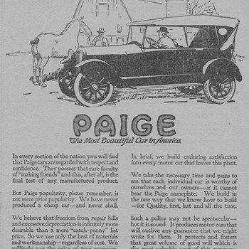 1919 - Paige Motor Car Advertisement