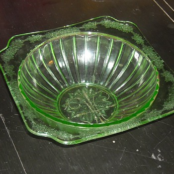 8 Inch Depression Glass Green Bowl Adam Pattern By Jeanette