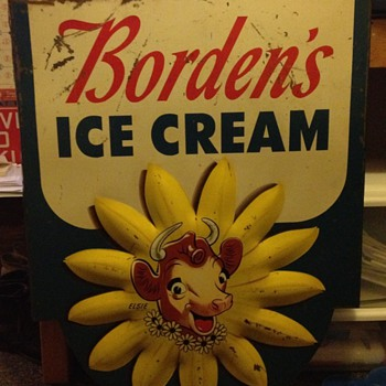 Borden's Ice Cream Painted Metal Sign with Embossed Flower - Signs