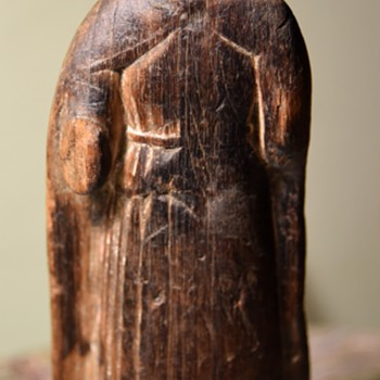 Very Old Wooden Carving of a Nun