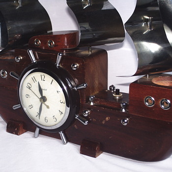 3/4 Electric Ship Clock, TV Lamp, Circa 1950-60 - Lamps