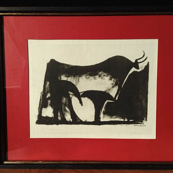 "Pablo Picasso ""Le Taureau Noir"" Lithographic Print artist proof - Posters and Prints"