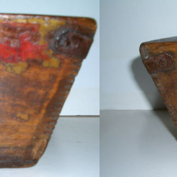 Antique Asian Wood Box, Iron Straps & Divided Center