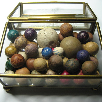 Antique Hand Made Clay Marbles - Toys