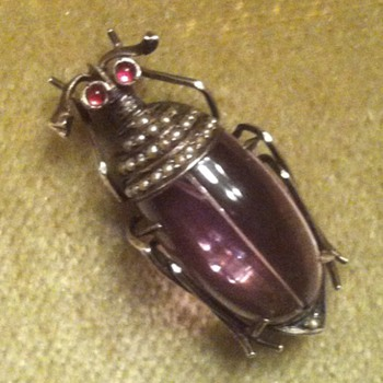 Amethyst and seed pearls silver beetle brooch