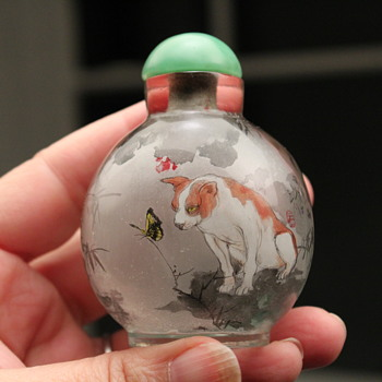 Reverse Painted Panda and Dog with Butterfly Snuff Bottle