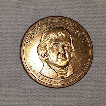 Gold Thomas Jefferson $1.00 dollar coin