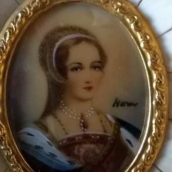 Hand Painted Miniature Portrait/MOP & Ivory Panel Frame Thrift Shop Find 1 Euro ($1.07) - Visual Art