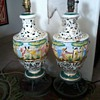Italian Pair lamps-, porcelain with gilt paint and figurines on Brass(?) &quot;cherub&quot; stand.