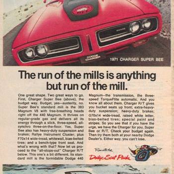 1971 Dodge Charger Super Bee Advertisement - Advertising
