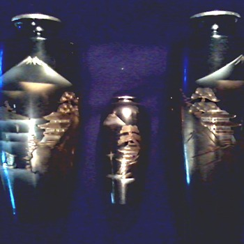 "3 Asian Etched Brass ""Chokin"" Landscape Vases / Black Lacquer with Gold and Silver Designs/ Signed Circa 1940's-50's"