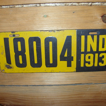 1913 indiana porcelian license plate - Signs