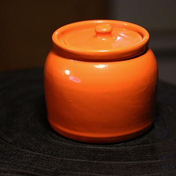 Orange California Pottery Covered Jar